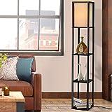 Artiss Led Floor Lamp Shelf Vintage Wood Standing Light Reading Storage Bedroom Black