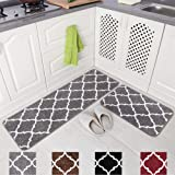 "Carvapet 2 Pieces Microfiber Moroccan Trellis Non-Slip Soft Kitchen Mat Bath Rug Doormat Runner Carpet Set, 17""x48""+17""x24"","
