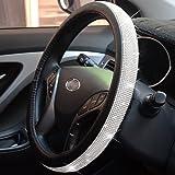 FEENM Steering Wheel Cover Bling Bling Rhinestones Crystals Car Handcraft Steering Wheel Covers Leather Girls Silver Silver B