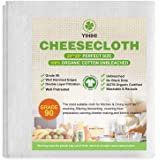 Yihihi Cheesecloth, 100% Organic Cotton Cheese Cloths for Straining, Double Layer, Grade 90 Unbleached, 20 x 20 Inch Hemmed E