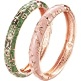 UJOY Cloisonne Bracelets Butterfly Enamel Floral Indian Hinged Open Bangle Jewelry Bracelet for Women Gift Box 55A