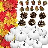 JOLLY SWEETS 128pcs Halloween Mini Artificial Pumpkins Decorations Set, Pine Corn, Acorn, Maple Leaves, Harvest Fruit Set for