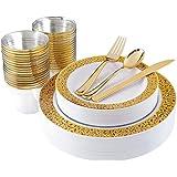 180pcs Plastic Gold Lace Plates, Gold Plastic Silverware, Gold Plastic Cups, Disposable Party Flatware, Durable Wedding Plate