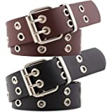 Double-Grommet-Belt Leather Punk-Waist-Belt with Chain for Women Jeans Dresses