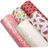 """Fruits Watermelon Pineapple Synthetic Leather Fabric Solid Color Chunky Crude Glitter Faux Leather Fabric Sheets 5Pcs 7.8""""x13"""