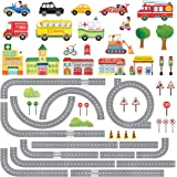 DECOWALL DAT-1404N The Road and Cars Kids Wall Stickers Wall Decals Peel and Stick Removable Wall Stickers for Kids Nursery B