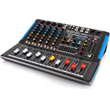 Bluetooth Studio Audio Mixer - DJ Sound Controller Interface with USB Drive for PC Recording Input, XLR Microphone Jack, 48V