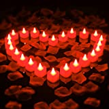 24 Pieces Heart Shape LED Candles Flameless Tealights Romantic Love LED Candles with 1000 Pieces Artificial Rose Petals for R