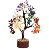 Crocon Seven Chakra Natural Healing Gemstone Crystal Bonsai Fortune Money Tree for Good Luck, Wealth & Prosperity-Home Office