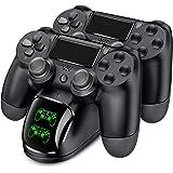 PS4 コントローラー 充電器 BEBONCOOL PS4 充電 スタンド PS4 Pro/PS4 Slim 充電器 PS4 コントローラー 充電2台同時充電可能 充電 LED 指示ランプ付き (黑)
