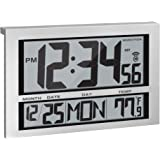Marathon Commercial Grade Jumbo Atomic Wall Clock with 6 Time Zones, Indoor Temperature & Date - Batteries Included - CL03002