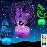 Focusky Unicorn Gifts for Girls,Mermaid Princess Gifts Dimmable Night Lights with Timer,Remote&Smart Touch,7 Colors Changing,