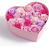 【Amazon限定ブランド】日本製 ソープフラワーギフト ボックス 誕生日 記念日 プレゼント バレンタインデー お祝い お見舞い 贈り物 引っ越し祝い 結婚祝い home cocci 窓付きハート型 Lサイズ ピンク