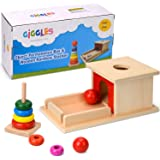Montessori Object Permanence Box & Miniature Rainbow Stacker Toy Gift Set Wooden for Babies & Toddler, Ball, Drop, Baby, Coin