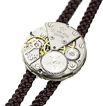 【tie*on】機械式時計ループタイ 腕時計のムーヴメント(ムーブメント)使用 スチームパンクな装いに