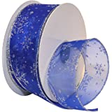 Morex Ribbon Snowflake Wired Sheer Glitter Ribbon, 2-1/2-Inch by 50-Yard Spool, Royal/Silver