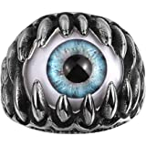 UMtrade Personalized Mens Ring Stainless Steel Dragon Claw Evil Eye Punk Gothic Rock Style