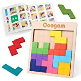 Coogam Wooden Tangram Puzzle Pattern Blocks Brain Teasers Game with 60 Challenges, 3D Russian Building Toy Wood Shape Jigsaw