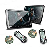 XTRONS 2X 10.1 Inch Twins HD Digital Screen Car Headrest DVD Player Ultra-Thin Detachable Touch Button with HDMI Port
