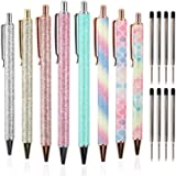 JPSOR 8pcs Ballpoint Pens Metal Retractable Pen, Black Ink Medium Point 1mm, Glitter Rose Gold Click Ball Pens, Gifts for Wom