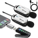 ワイヤレスマイク USB Alvoxcon 無線マイク PCマイク Androidフォン iPhone ピンマイク イヤホン端子付き UHF 録音録画 拡声 モニタリング 軽量 日本語説明書 二人用UM320Pro