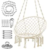 WBHome Hammock Chair Macrame Swing for Indoor Outdoor, Handmade Knitted Cotton Rope, Max Weight 265 Lbs (Hanging Hardware Inc