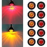 "Purishion 10x 3/4"""" Round LED Clearence Light Front Rear Side Marker Indicators Light for Truck Car Bus Trailer Van Caravan B"