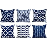 Topfinel Accent Decorative Throw Pillow Covers Durable Canvas Outdoor Throw Pillow Covers 20 x 20 for Couch Bedroom, Set of 6