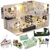 CUTEBEE Dollhouse Miniature with Furniture, DIY Dollhouse Kit Plus Dust Proof and Music Movement, 1:24 Scale Creative Room Id