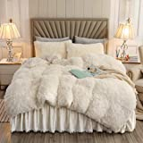 XIYU Luxury Plush Shaggy Duvet Cover Set Ultra Soft Crystal Velvet Bedding Sets 3 Pieces(1 Faux Fur Duvet Cover + 2 Faux Fur