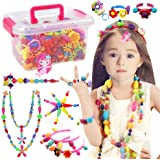 Conleke Pop Snap Beads Set 500 PCS for Kids Toddlers Creative DIY Jewelry Toys - Making Necklace,Bracelet and Ring - Ideal Ch