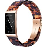 Wongeto Resin Bands Compatible for Fitbit Charge 4 / Charge 3 Bands and Charge 3 SE Band,Replacement Wrist Accessory Rose Gol