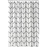 mDesign Decorative Herringbone Print - Easy Care Fabric Hotel Quality Shower Curtain with Reinforced Buttonholes, for Bathroo