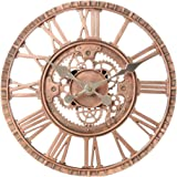 Lily's Home Hanging Wall Clock, Steampunk Gear and Cog Design with a Bronze Finish, Ideal for Indoor or Outdoor Use, Poly-Res