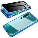 Jonwelsy 反スパイ 携帯電話 ケース Xiaomi Mi Note 10 / CC9 Pro に適し360度 完全保護 前面と背面 プライバシー 強化ガラス 抗覗き見 磁気吸着 金属フレーム カバー 磁性技術 CC9 Pro (青)
