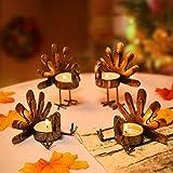Rocinha Thanksgiving Turkey Candle Holder, Set of 6 Tea Candles Holders Holiday Candlestick Autumn Harvest Thanksgiving Decor