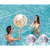 Dr.BeTree 3 Pack Sequin Beach Ball Pool Toys Balls Confetti Glitter Inflatable Clear Beach Ball Swimming Pool Water Fun Toys