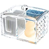 Ouyatong Upgraded Clear Acrylic Makeup Cotton Pads Organizer,Cotton Ball and Cotton Swabs Holder with lid for Bathroom and Be
