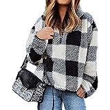 BTFBM Women Long Sleeve Zipper Sherpa Sweatshirt Soft Fleece Pullover Outwear Coat