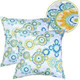 Eternal Beauty Set of 2 Outdoor Pillow Covers Spill Proof Decorative Throw Pillow Covers for Couch Pillows, Floral, 18X18 inc