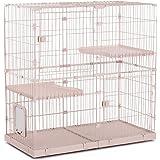 [Amazonブランド] Umi(ウミ) - 猫ケージ キャットケージ 2段 3段 ペット チンチラ 小動物 扉付きハウス キャスター付き お手入れ簡単 多頭飼い シンプル 組立簡単 室内飼い おしゃれ - M ベージュ 123*60.5*125cm