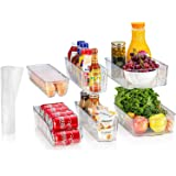 fridge bins and organizers Set of 10 - Stackable refrigerator bins set includes 6 bins for food containers and 4 shelf liners