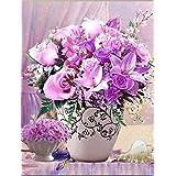 [ウィスアイランド]Wizisland クロスステッチ 刺繍 キット セット インテリア 図柄印刷済み (紫の花)