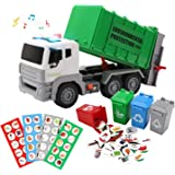 """12"""" Garbage Truck Toys Trash Truck Dump Truck with Sound and Light, Friction Powered Truck with 4 Garbage Cans, Push and Go P"""