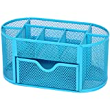 ThreeH Pen Holder Metal Mesk Desk Organizer Office Supplies with 9 Compartments 1 Drawer Blue