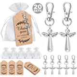 MOVINPE 20pcs Angel Favor Keychains Plus Organza Bags Plus Thank You Kraft Tags, Guest Return Gifts for Baby Shower, Bridal S