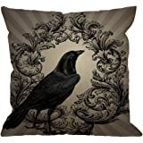 Crow Throw Pillow Case by HGOD DESIGNS Vintage Crow Black Flower Cotton Linen Square Cushion Cover Standard Pillowcase for Me