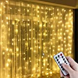 Anpro Window Curtain String Light, 300 LED Warm White Window Fairy String Lights with 8 Modes, 3m x 3m 8 Modes USB Powered LE