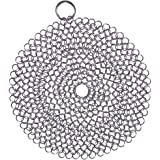 Cast Iron Cleaner, 316 Premium Stainless Steel Cast Iron Skillet, Chainmail Scrubber for Cast Iron Pan Pre-Seasoned Pan Dutch