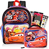 Disney Cars 3 Pc Backpack School Set for Boys Kids ~ Deluxe 16 Inch Molded Disney Cars Backpack with Lunch Box and Stickers (